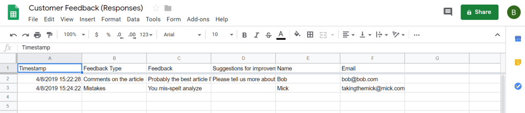 feedback from Google Forms