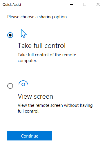 Choose to Take full control or View screen in Quick Assist