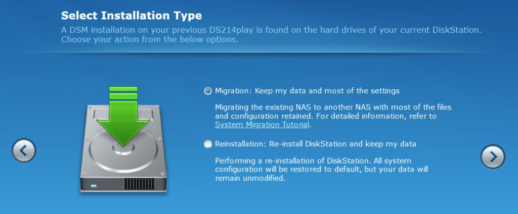 Synology DSM Screenshot:  Select Installation type.