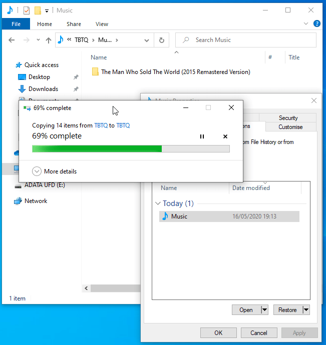 Windows File History - Folder Restoration