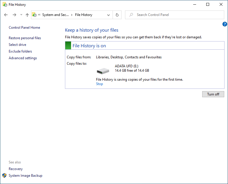Windows File History turn on