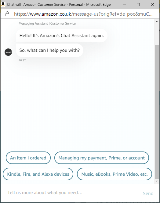 Amazon Chat Assistant