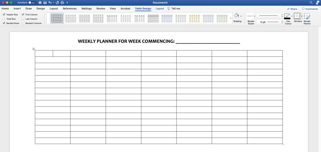 Microsoft Word table