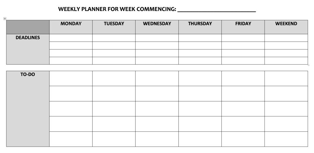 Microsoft Word weekly planner
