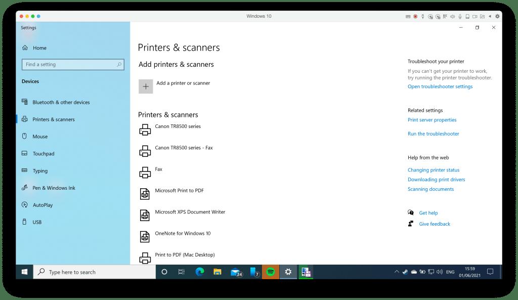 Windows printer settings