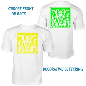 front and back white t-shirt letter v colors