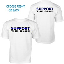 front and back white t-shirt support blue lives