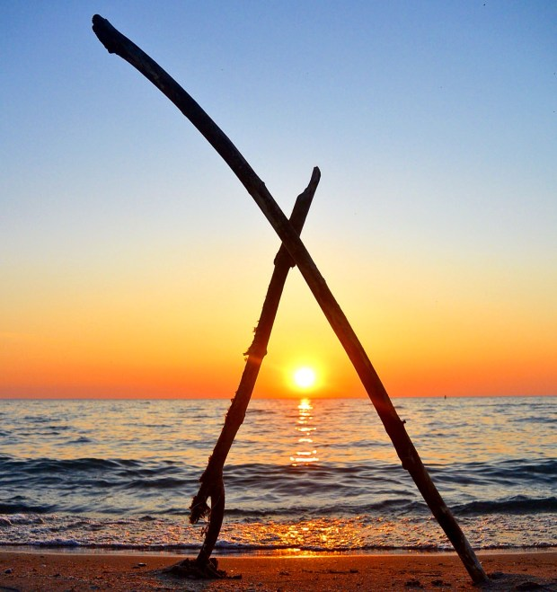 Stick art sunset at Wasaga Beach