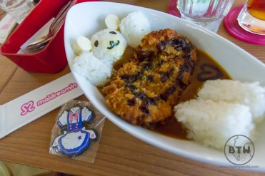 A curry bowl at a maid cafe in Tokyo, made to look like a bear in a bath