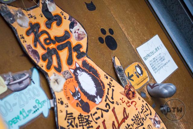 The front door of Neko Jalala in Tokyo, Japan