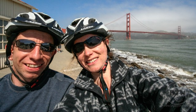 Aaron and Brianna posing in front of the Golden Gate Bridge in San Francisco, California