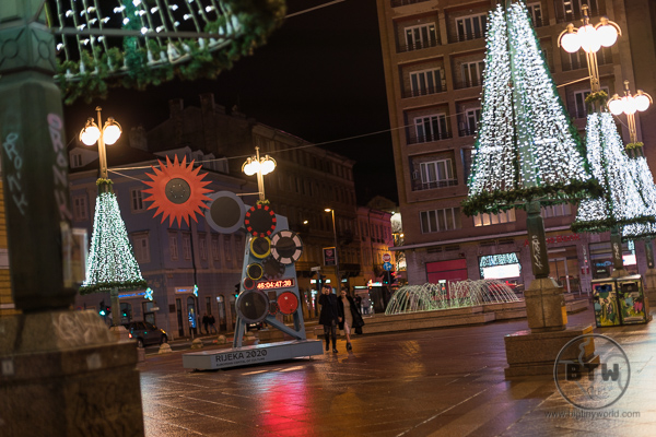 Rijeka Croatia Square with Christmas Lights