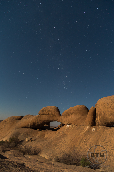 Spitzkoppe Arch at Night with stars - Namibia