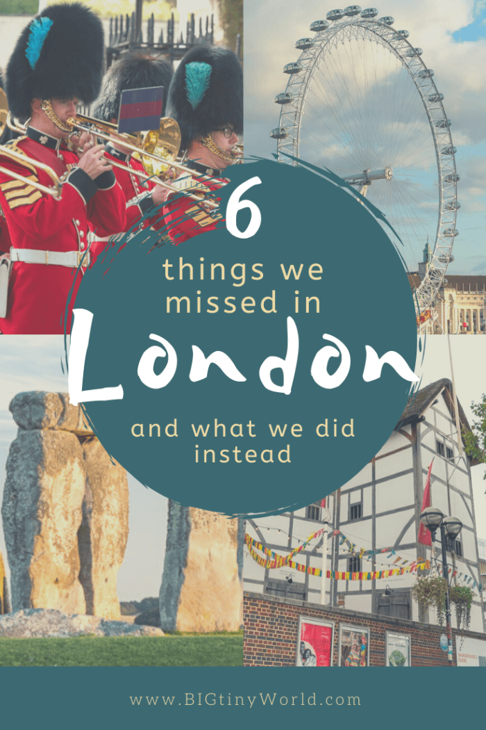 Things We Missed in London | We spent five days in London and did our best to see all of the highlights. There were many things we didn't get to with the limited time that are worth a revisit. We instead visited places not everyone knows about. Check it out! | BIG tiny World Travel | #bigtinyworld #LondonUK #shadeadventures #TravelUK #5days