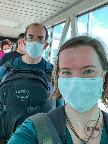 Walking through airport coronavirus masks