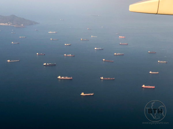 Aerial view of ships outside of Panama Canal