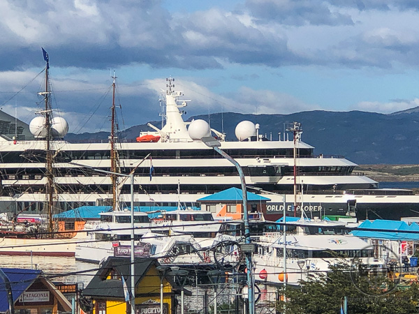 The World Explorer ship in the Ushuaia port