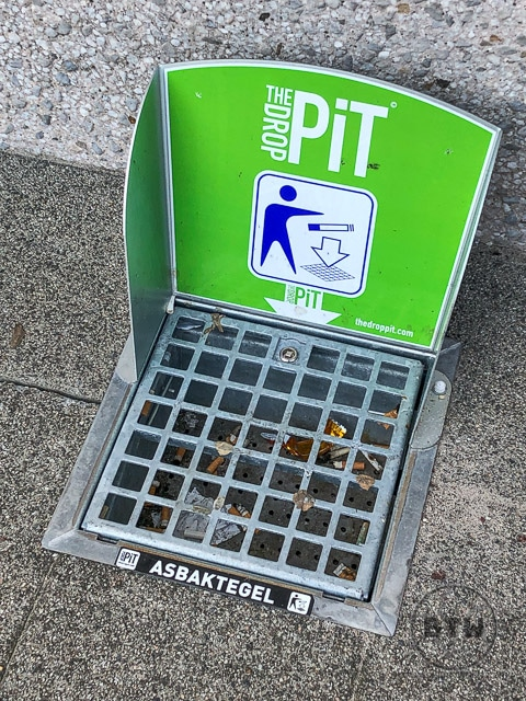 Cigarette butt catch grate
