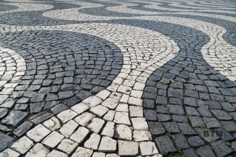Black and white street tiles in Lisbon, Portugal