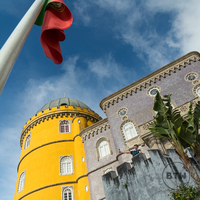 Pena Palace Sintra Portugal with tiles and flag