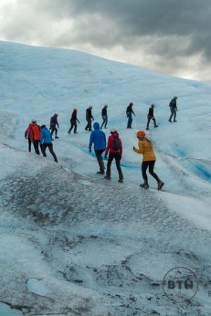 Line of People on Perito Moreno Glacier