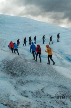 Line of People on Perito Moreno Glacier