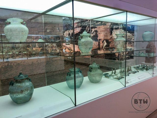 Old glass jars on display at the Museum of Ancient Glass in Zadar, Croatia