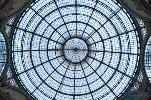 Glass dome ceiling in an indoor market in Milan, Italy