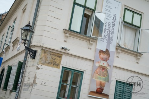 Outside the building of the Museum of Broken Relationships in Zagreb, Croatia