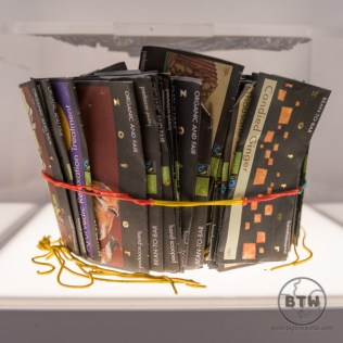 A bunch of chocolate wrappers tied together at the Museum of Broken Relationships in Zagreb, Croatia