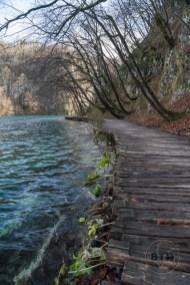An empty board walk in Plitvice Lakes National Park in Croatia