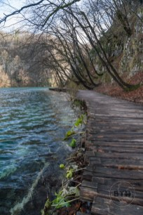 An empty board walk in Plitvice Lakes National Park in Croatia
