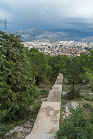 Stairs leading to the summit of Telegrin park in Split, Croatia