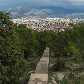 Stairs and the view of the city from the western hill in Split, Croatia