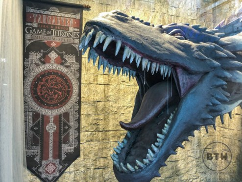 A large dragon figure at the gate to the Game of Thrones museum in Split, Croatia