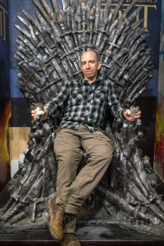 Aaron sitting in a replica Iron Throne in Split, Croatia