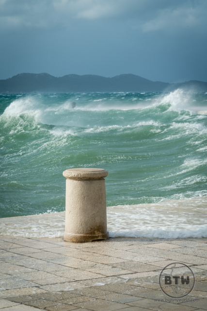 Waves crashing during a storm in Zadar, Croatia