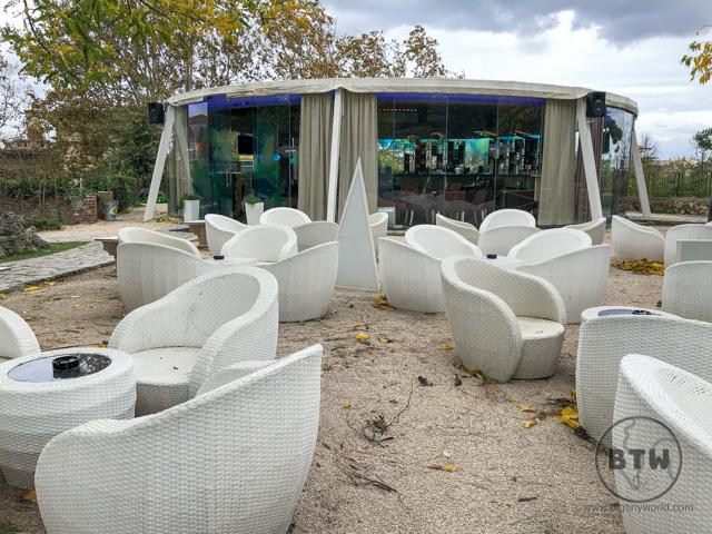 An empty outdoor bar in Zadar, Croatia