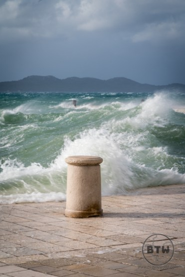 Large waves at the waterfront in Zadar, Croatia