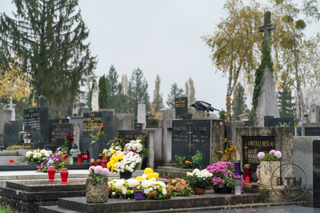 Graves in Mirogoj Cemetery in Zagreb, Croatia