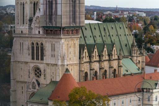 The view of the cathedral from the Zagreb 360 building in Zagreb, Croatia