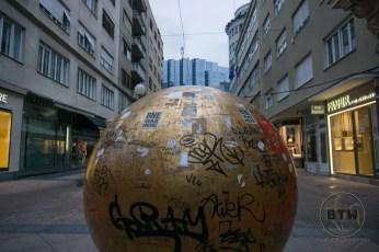 """""""The Sun"""" statue in Zagreb, Croatia"""