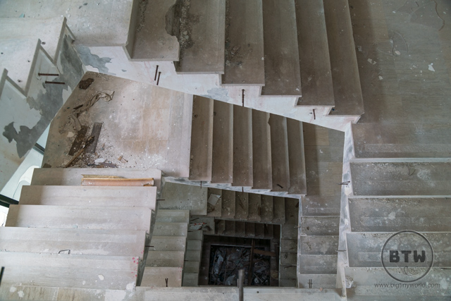 Old stairs at the ruins of the Belvedere Hotel in Dubrovnik, Croatia