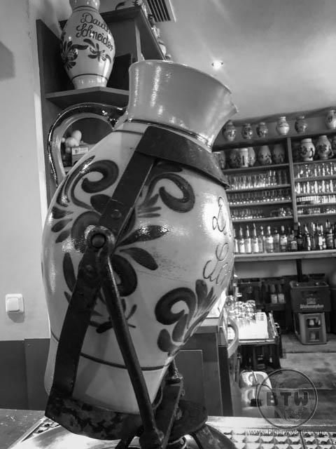 A decorative jug used for apfelwein in Frankfurt, Germany