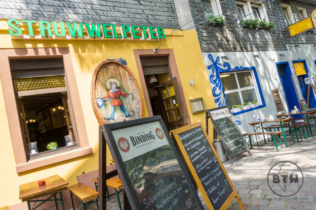The front of the Struwwelpeter brauhaus in Frankfurt, Germany