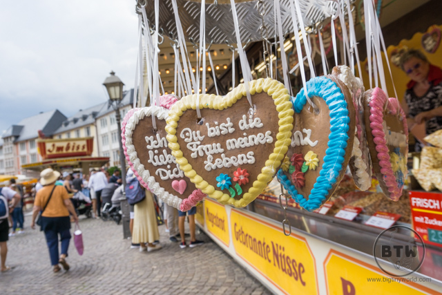 Decorative cookies hanging outside a food stall in Frankfurt, Germany