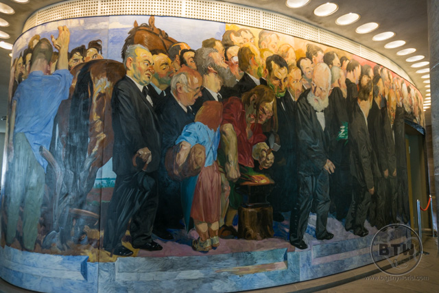 A mural in the parliament building in Frankfurt, Germany