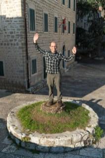 Aaron acting like a tree in Herceg Novi, Montenegro
