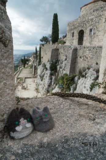 The travel kitties at Klis Fortress near Split, Croatia