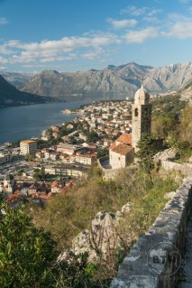 The view of the church and Kotor, Montenegro, from atop the hill